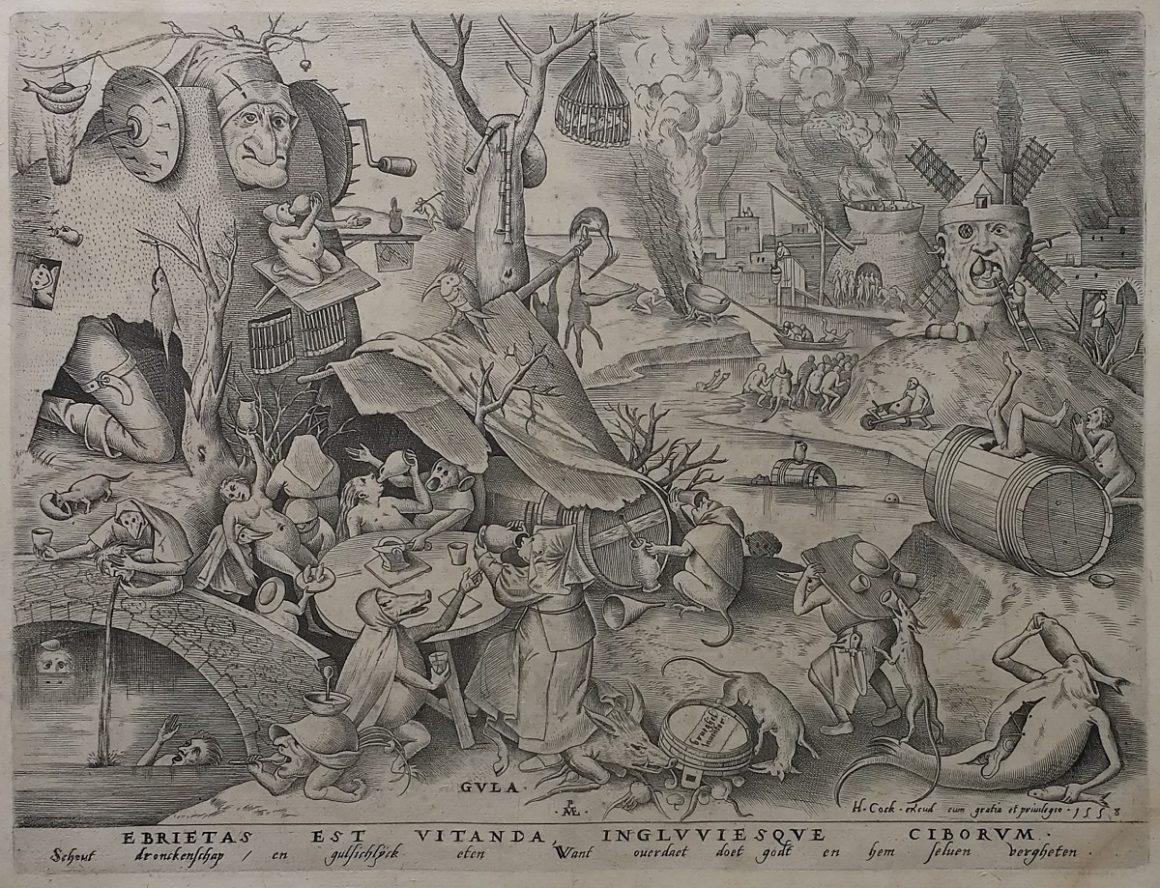 Pieter BRUEGEL L'ANCIEN (c. 1525 - c. 1569) - Gula [La Gourmandise] - 1558 - Burin