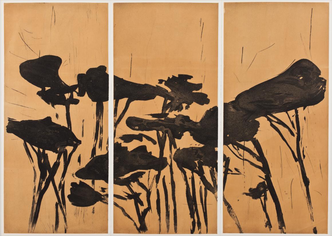 Astrid de La Forest - Triptyque Sans titre (Pins parasols), 2014 - Carborundum sur impression en couleur, tirage à 7 épreuves - 3 x (110 x 49,5 cm à la planche)