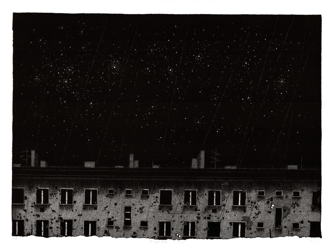 Nicolas POIGNON - La Grande facade, 2012 - Linogravure, tirage à 25 épreuves - 65 x 89,5 cm
