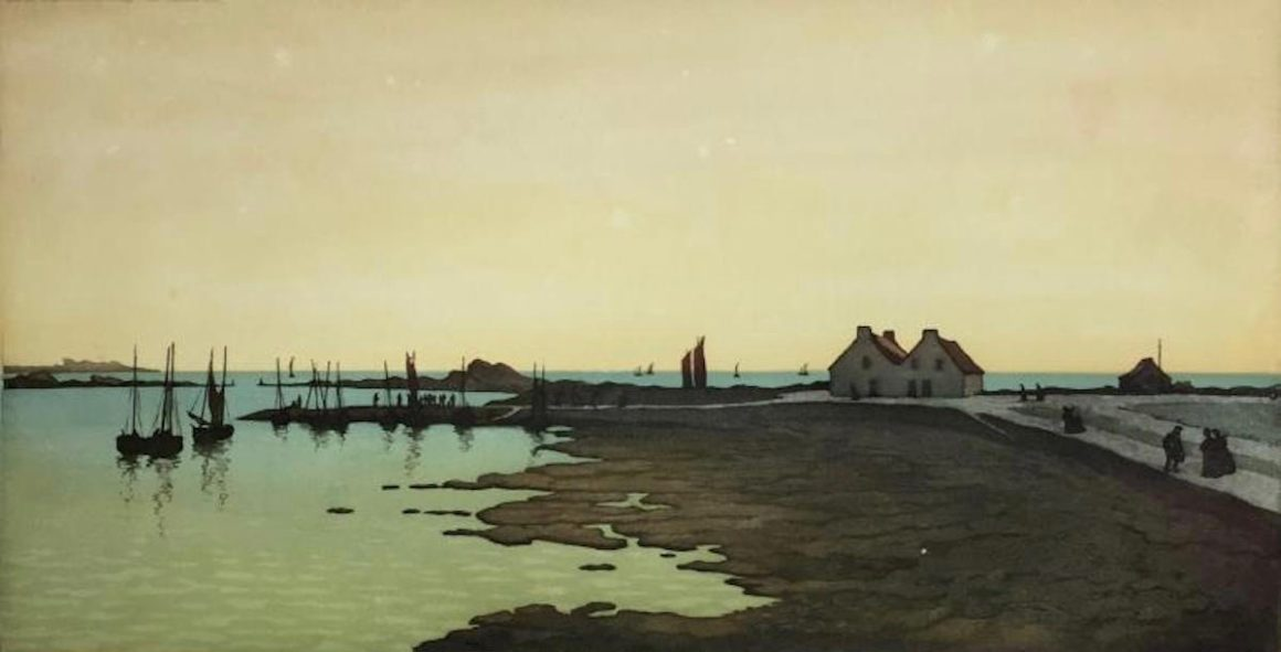 Henri MEUNIER, Rentrée des pêcheurs (Saint-Guénolé), 1908, aquatinte