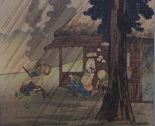 Takahashi SHOTEI, Pluie soudaine à Tokkaido, c. 1930, gravure sur bois