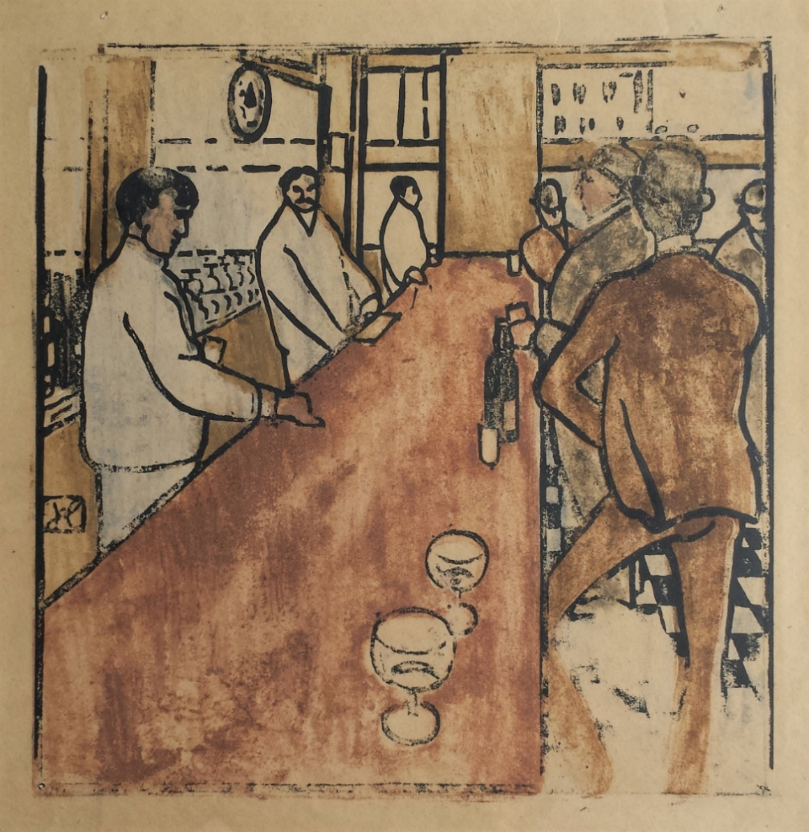 Jean-Émile LABOUREUR (1877 - 1943) : Le Bar en Pennsylvanie - 1904 - Bois gravé imprimé en couleurs