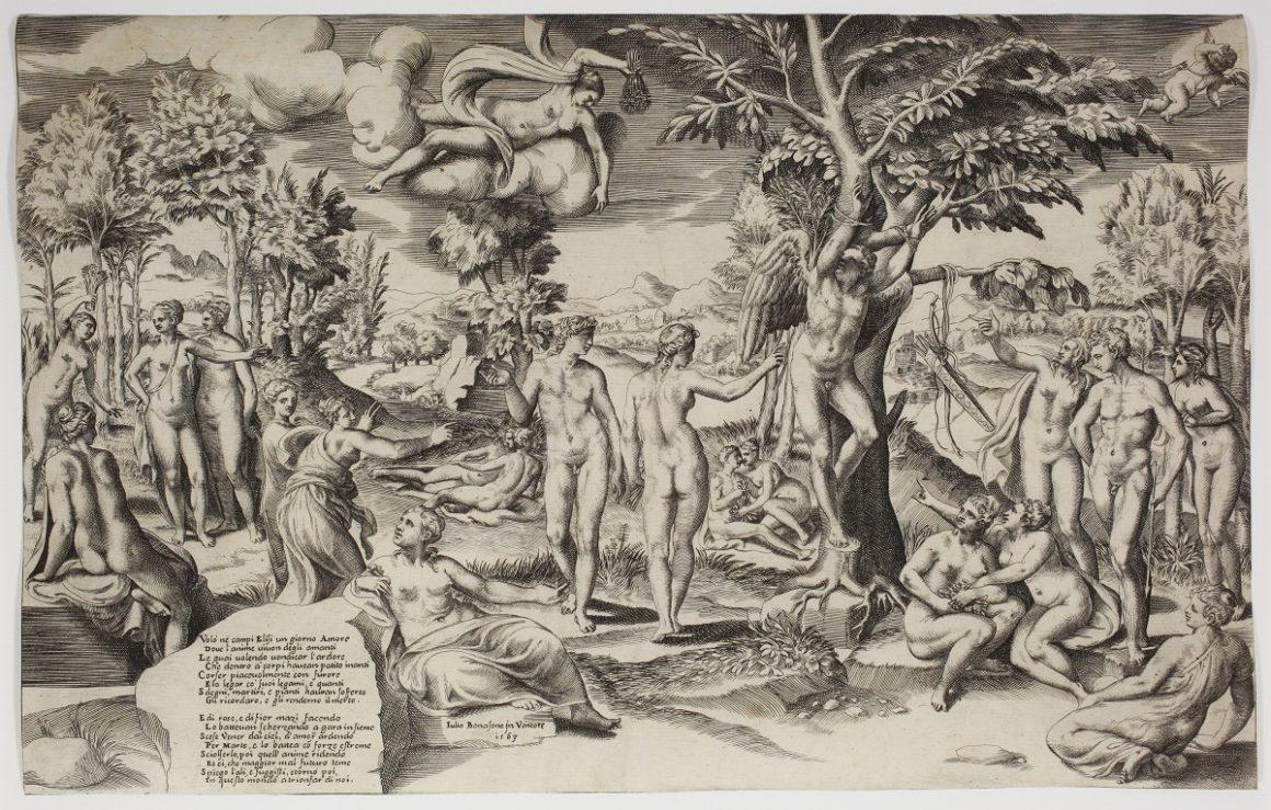 Giulio BONASONE (c. 1498 - c. 1574) - L'Amour surpris dans les Champs-Élysées - 1563 - Burin