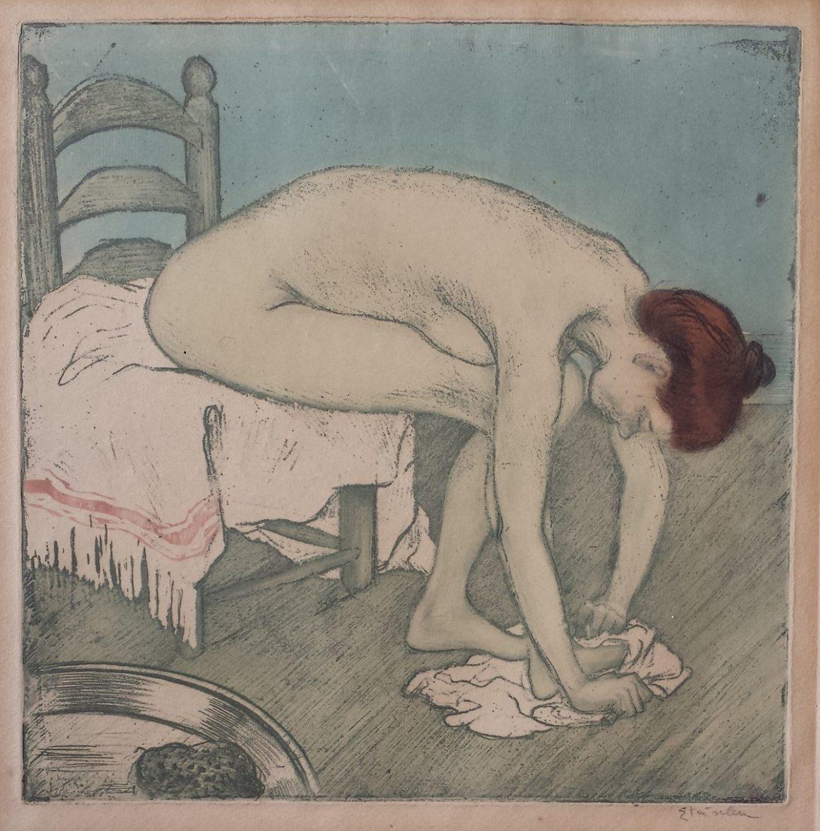 Théophile Alexandre STEINLEN (1859-1923) - Femme nue assise, s'essuyant les pieds - 1902 - Eau-forte, vernis mou et aquatinte sur zinc