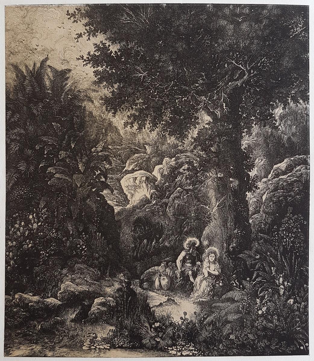 Rodolphe BRESDIN (1822-1885) - Le Repos en Égypte à l'âne bâté - 1871 - Report sur pierre de l'eau-forte