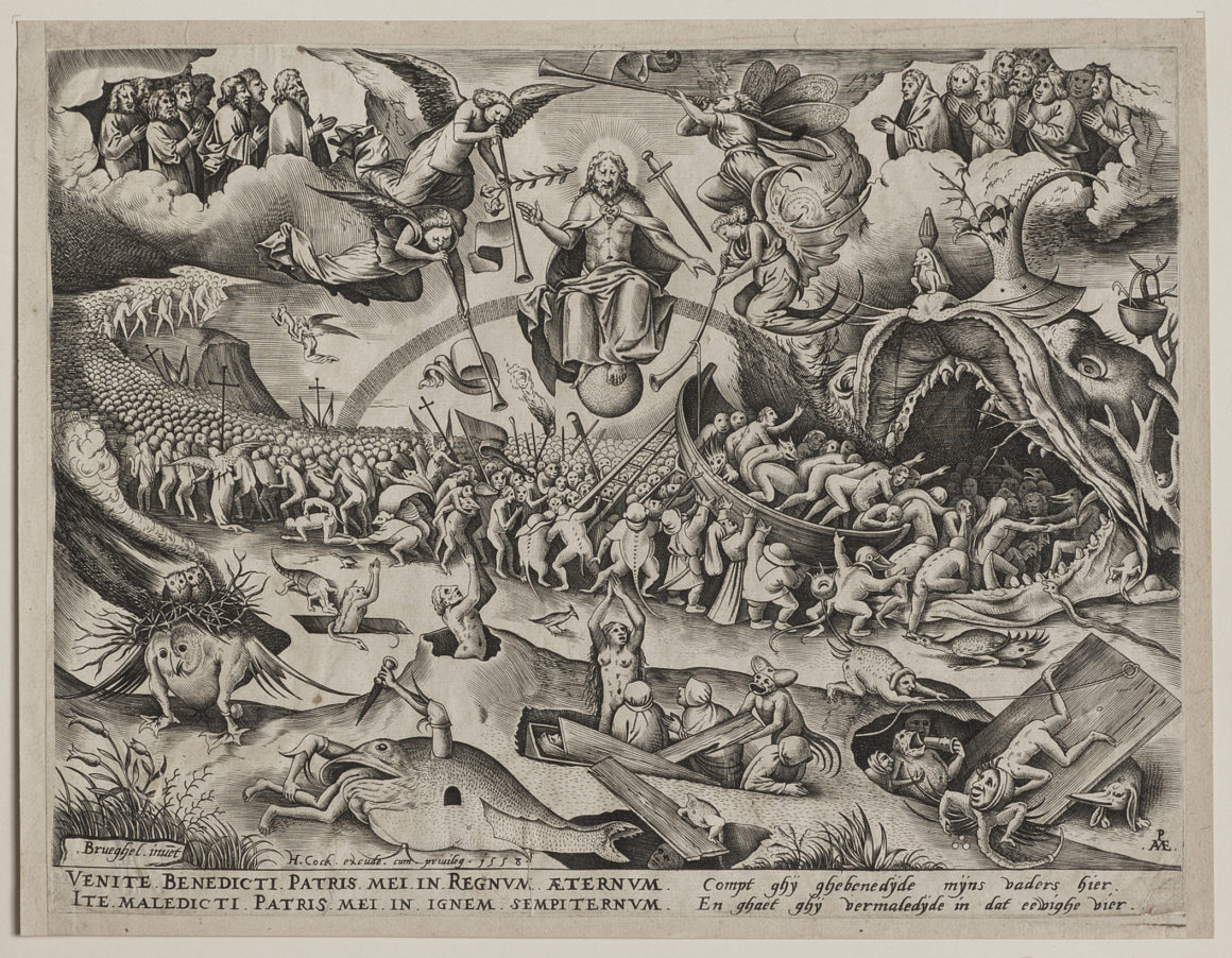 After PIETER BRUEGEL, the Elder Eindhoven c. 1525 - 1569 Brussels The Last Judgment. Engraving after Bruegel by Pieter van der Heyden; 1558. New Hollstein 8, the first of two states, before the later address of Mariette. Published by Hieronymus Cock. A very fine impression; trimmed on and just outside the platemark all around. A tiny loss just above Bruegel's name lower left and two very short printer's creases in the text; the surfaces otherwise very fresh. 228 x 296 mm