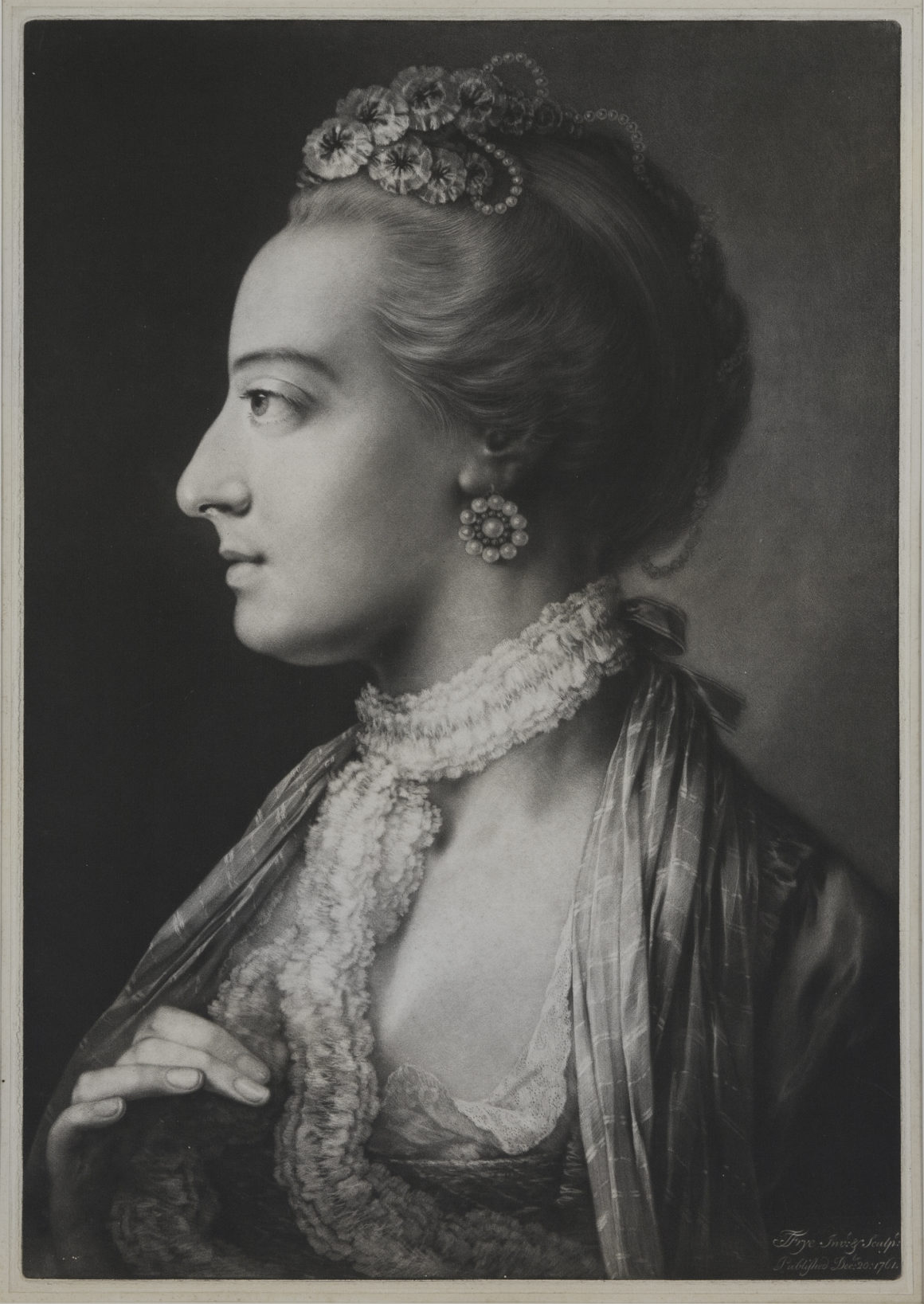 """THOMAS FRYE Dublin 1710 - 1762 London [Fashionable Woman wearing a lace necklet]. From """"Ladies, very elegantly attired in the fashion, and in the most agreeable attitudes."""" Woman, directed towards, face in profile to the left… Mezzotint; 1761. Chaloner Smith 23, only state. A brilliant impression in very fine condition, with narrow margins; laid onto a support sheet. 503 x 348 mm"""