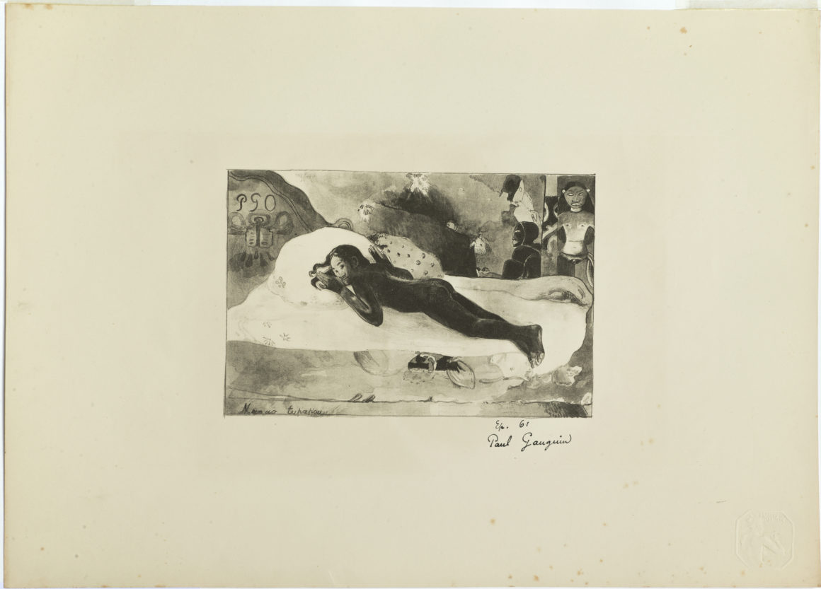 PAUL GAUGUIN Paris 1848 - 1903 Atuona, Marquesas Islands Manao Tupapau [Elle pense au revenant. ¬¬– ¬ L'Esprit des Morts veille] {Watched by the Spirits of the Dead}. Lithograph on stone, the stone executed in pen, crayon and wash; 1894. Signed in the image with the artist's monogram, and by the artist in pen below right on the support sheet. Published in an edition of 100 by André Marty in L'Estampe Originale, part VI, April to June 1894. With the embossed blind stamp of the publication in the lower right corner. Mongan, Kornfeld & Joachim 23, only state. An extremely fine impression in fine, fresh condition. The authors cite only thirty impressions; our impression was unknown to them. 180 x 270 mm