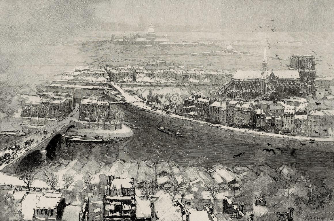 Sagot-Le Garrec Auguste Lepère Paris sous la neige vu du haut de Saint Gervais 1890 Gravure sur bois 302 x 454 mm
