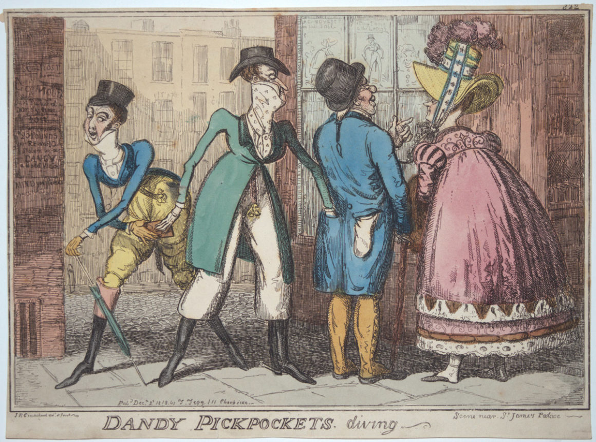 "Dandy pickpokets. Diving. Scene Near St James's Park.322"" by I.R Cruikshank in 1818 Etching"