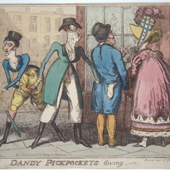 "Dandy pickpokets. Diving. Scene Near St James's Park.322"" by I.R Cruikshank in 1818 Etching"