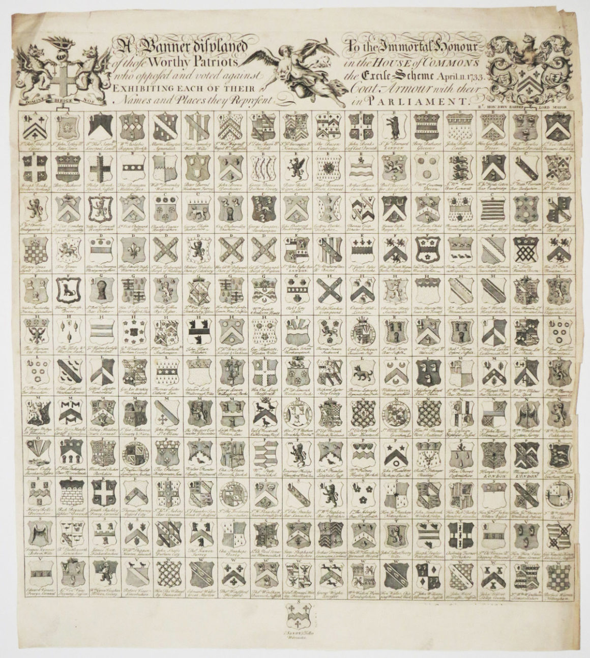 """A Banner displayed To the Immortal honour of those Worthy Patriots in the House of Commons who opposed and voted against the Excise Scheme April 11 1733. Exhibiting Each of Their Coat-Armour with their Names and Places they Represent in Parliament."" By Anon, Etching, 1733"