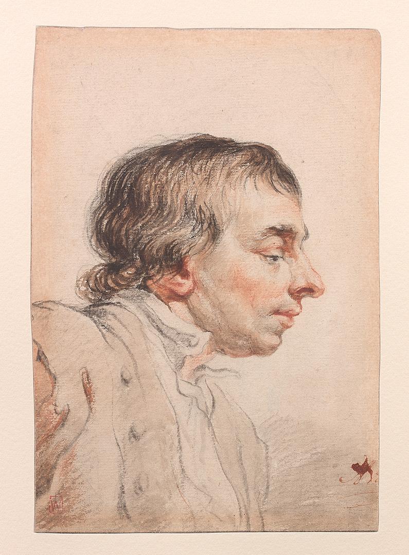 Abraham van Strij I Étude d'une tête d'homme vue de profil Sanguine, pierre noire, lavis gris 167 x 114 mm Monogrammé en bas à droite