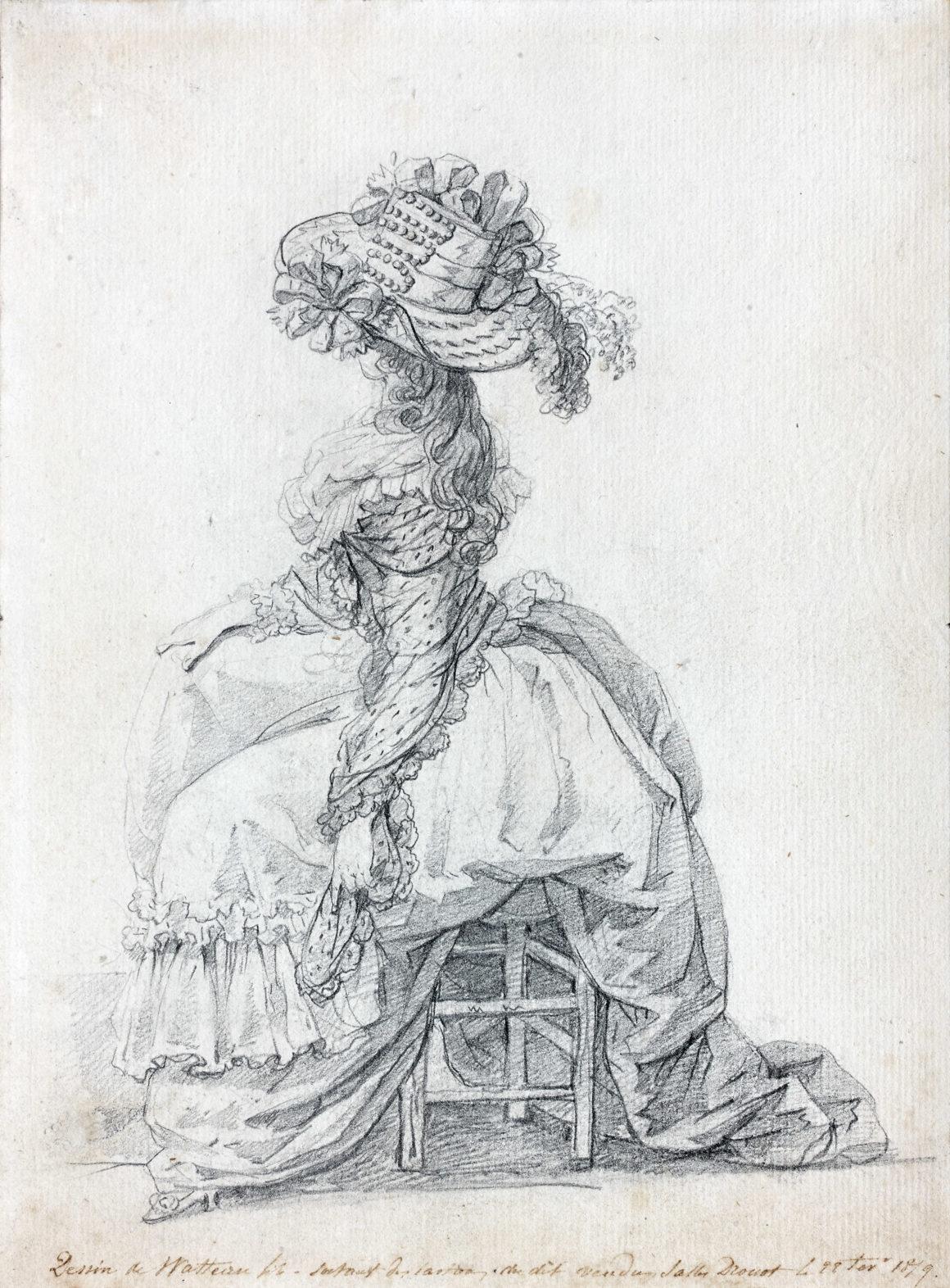 François Watteau, dit Watteau de Lille Étude d'une élégante assise de profil, tournée vers gauche Pierre noire 261 x 191 mm