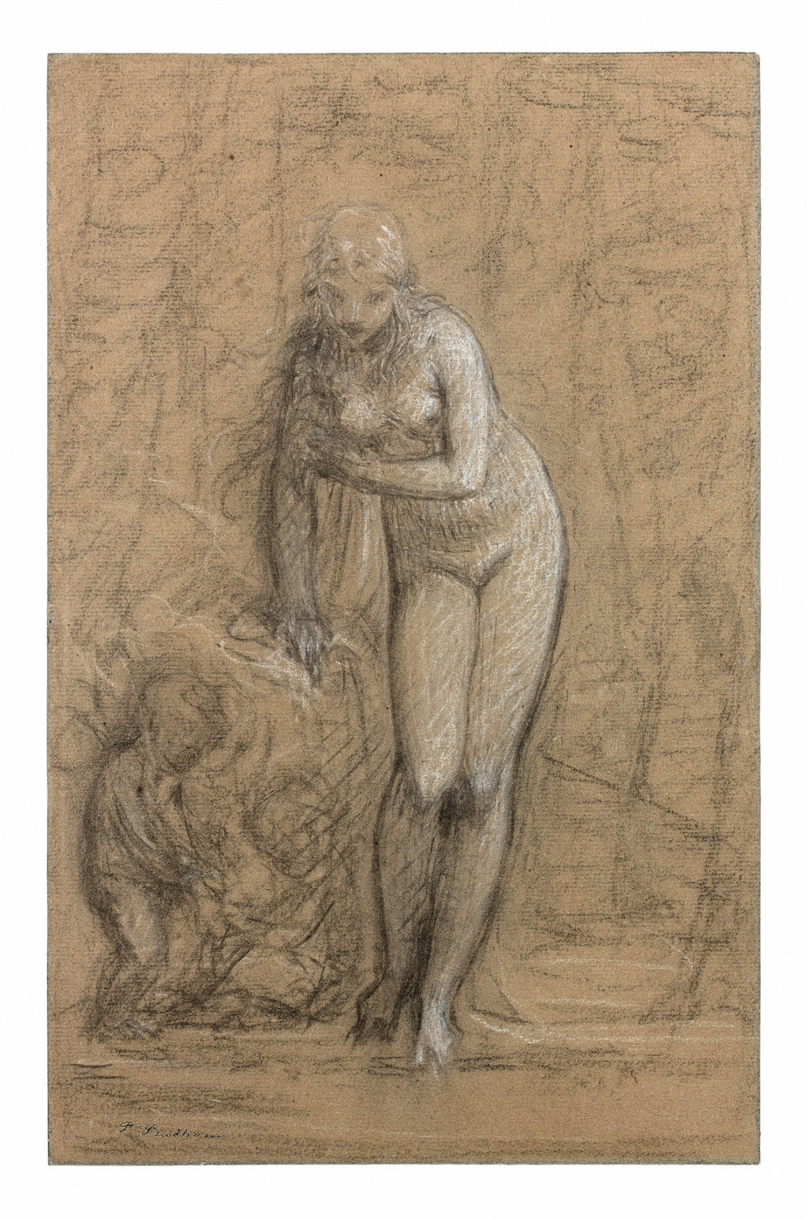 Pierre-Paul Prud'hon Vénus au bain ou L'Innocence Pierre noire et craie blanche sur papier anciennement bleu 382 x 244 mm