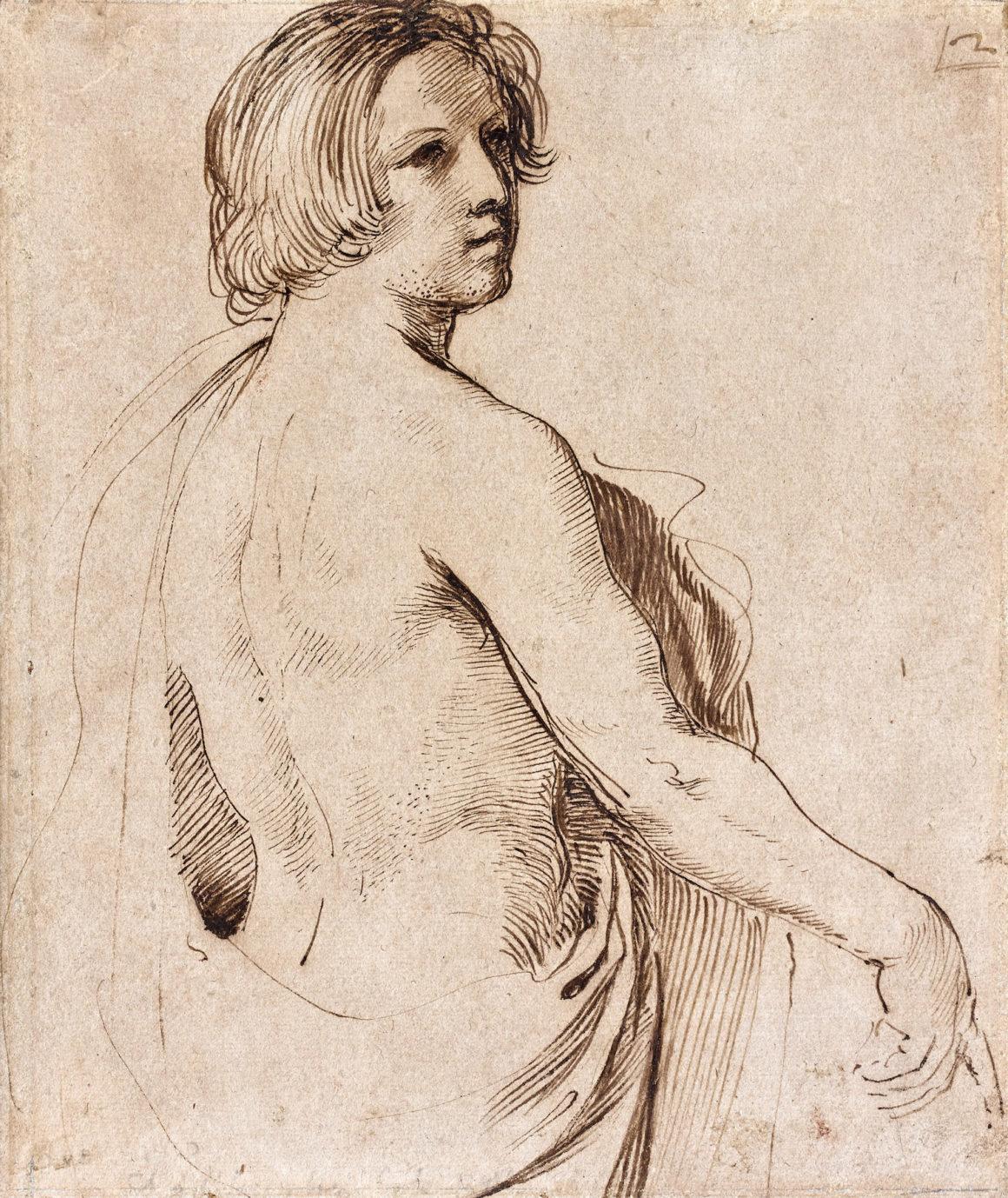 Giovanni Francesco Barbieri, dit Le Guerchin Jeune homme vu à mi-corps regardant au-dessus de son épaule droite Plume et encre brune 222 x 185 mm Inscrit à la plume et encre brune en haut à droite: 2